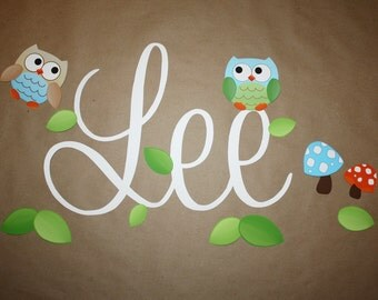 Fabric WALL NAME DECALS Boy Owls Bedroom Baby Nursery Wall Name Decal