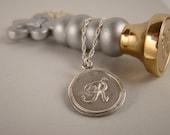 Fine Silver, Envelope Seal, Monogram Pendant Necklace, Monogram Necklace, Silver Initial Necklace, Silver Pendant, Silver Charm, Letter R