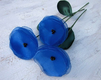 Flowers with stems, home decor, fabric flowers, handmade organza flowers- set of 3 pcs- ROYAL BLUE POPPIES (as seen in Brides magazine)