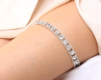 Crystal garter, silver wedding garter, keepsake garter, garter wedding - style #486