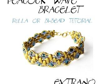 TUTORIAL - Rulla, Bi-Beads Bracelet - PEACOCK WAVE - immediate download