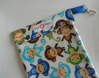XL Epi Pen Carrier w/ Clear Pocket and Clip Holds 2 Allergy Pens / Antihistamine/ First Aid (6x8 Monkeys in Royal Fabric)