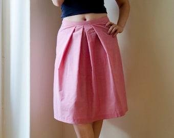 Pleated Red Gingham skirt , Cotton Summer Skirt