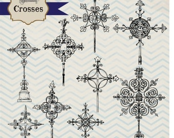 Instant Download - Vintage Crosses, digital clip art and photoshop brushes: Commercial and Personal Use