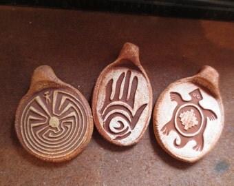 Trio of Petroglyph Images Ceramic Pendants