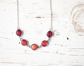 Red rose necklace - Flower jewelry - Bloom collection by BeautySpot (BN023)