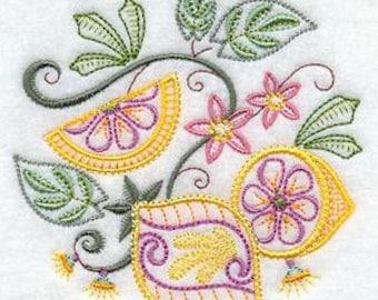Vintage Jacobean Lemons Embroidered Flour Sack  Towel / Hand Towel /Bath Towel / Apron