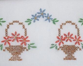 Vintage Embroidered Standard Pillowcase Baskets Flowers Floral Cottage