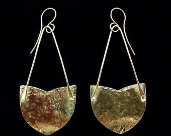 Bold Shield Earrings Textured Solid Brass