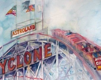 Cyclone, Coney Island  - Art Print  from Original Watercolors - Size 8.5 x 11
