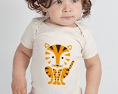 Baby One Piece, Tiger, Animal, Jungle, Baby Gift, Organic, 6-12 mo