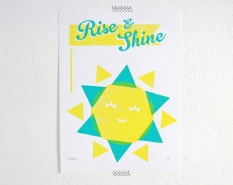 Rise and Shine Print, Sun, Kids Room, Nursery Art