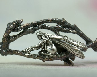 Sterling Silver Faerie  Bracelet, Faeries of the Wood Jewelry