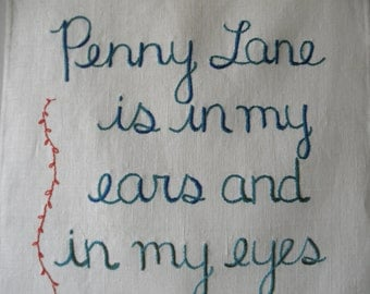 Penny Lane, Modern Tapestry, Beatles gift, Hand embroidered, Textile art, Decorative art