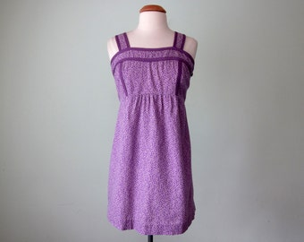 70s dress / lilac vine print summer sundress cotton mini (m - l)