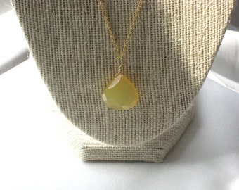 CLEARANCE: Faceted Lemon Chalcedony Teardrop Pendant Necklace on 14k Gold
