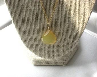 Faceted Lemon Chalcedony Teardrop Pendant Necklace on 14k Gold