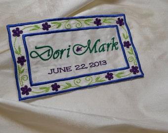 SOMETHING BLUE - Custom Embroidered Wedding Dress Label Royal Blue - Emerald Green - Purple - on Ivory Silk Shantung