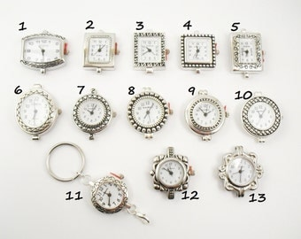 Silver Watch Face Add-On for Lanyards, ID Badge Holders, Necklaces-SEVERAL CHOICES