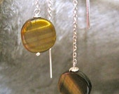 Delicate threaders - Sterling silver chain earrings with Stunning Tiger's Eye
