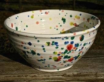 white bowl with confetti speckles