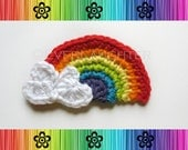 CROCHET PATTERN - Rainbow Applique with Heart Clouds-Detailed Photos