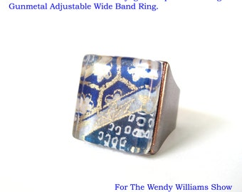 As Gifted On The Wendy Williams Show.  Golden Fortunes in White Chiyogami Paper Glass Ring. Gunmetal Adjustable Wide Band Ring.