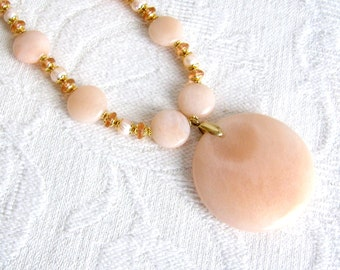 XL Peach Aventurine Pendant Necklace with Cultured Pearls, Glass and Gold