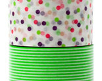 mt Washi Masking Tape - Confetti Dots & Green Stripes - Wide Set 2 - G