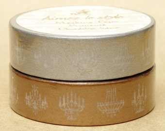 Aimez Washi Masking Tape - Chandelier in Silver or Bronze
