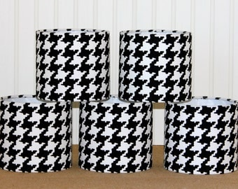 Chandelier Drum Lamp Shade Lampshade Sconce Mini Black and White Houndstooth