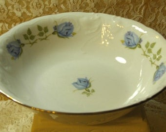 SHABBY COTTAGE CHARM - Vintage  China Blue Roses Vegie Bowl  - Pretty Blue Roses - Ornate (Credit Cards Accepted)