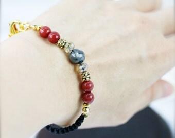 Gung ho unisex bracelet - Chinese jade and labradorite