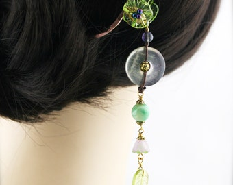 YingShi blossom hair stick (HS) - Fluorite and quartzite