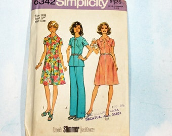 Vintage 1970s, Sewing Pattern, Simplicity 6342, Dress or Top and Pants, Half Size 14 1/2