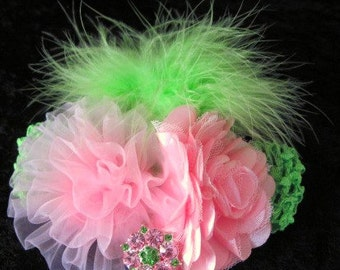 Pink and Lime Bling  hairband customizing welcome newborn baby toddler tween teen adult