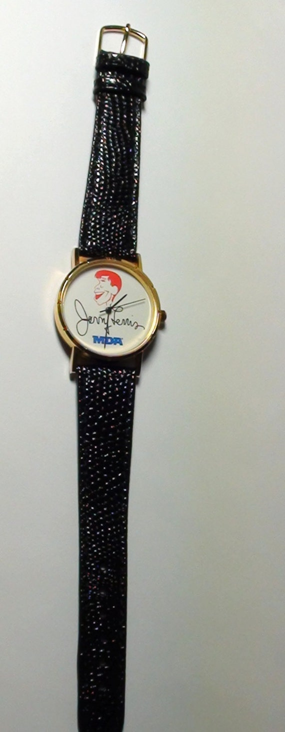 Vintage jerry lewis quartz watch mov black leather band for Celebrity quartz watch