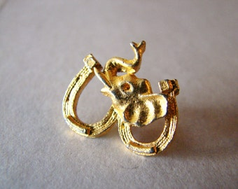 SALE- Vintage gold elephant brooch with horse shoes