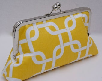 Yellow Clutch Handbag in Modern Geometric Design for Gift or Bridesmaids- Custom Design your Own