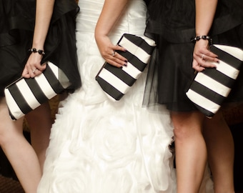 Bridesmaids Gift Black and White Bridesmaids Gift Clutch Custom Made in Black and White Design your own Wedding Party Gift