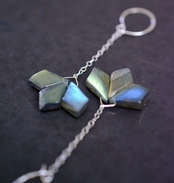The seeds of change...long sterling silver and labradorite geometric flower earrings