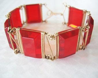 Lucite Bracelet Cherry Red Beveled Rectangles Gold Filled Circa 1940's