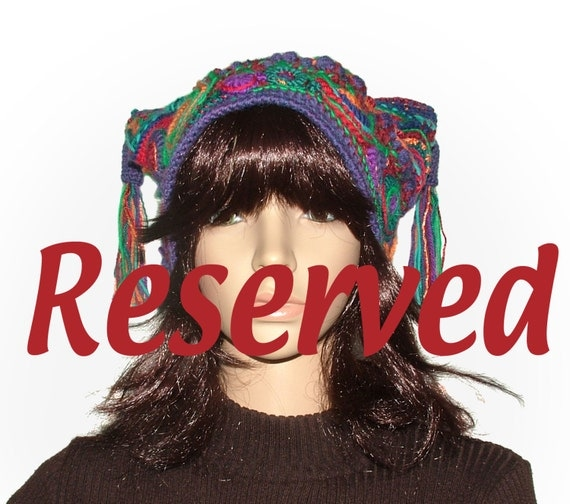 RESERVED OOAK Beanie Jester Hat Freeform Crochet Multicolor