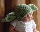 Baby Alien Hat,  Goblin Hat, Yoda Inspired Hat, Newborn to 3 Months Crochet Baby Photo Prop