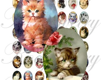 Vintage Cats images 18x25mm oval images for charms, pendant, buttons, scrapbook and more Vintage Digital Collage Sheet No.1115