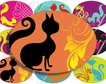 Bright cats for large oval for belt buckle and more digital collage sheet No.1127