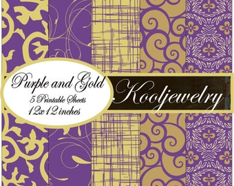 Purple and Gold digital paper pack - No.100