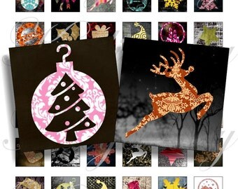 Grunge Christmas fabric 1x1 inch for pendant, scrapbook and more Digital Collage Sheet No.530