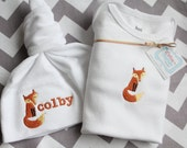Sly Fox Gift Set - One Piece Diaper Shirt and Personalized Knot Hat