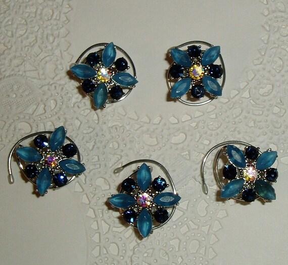 Ballroom Hair Swirls-Royal & Light Blue-Swarovski Rhinestones-Hair Spins-Hair Spirals-Hair Twists-Hair Twisties-Bridesmaids